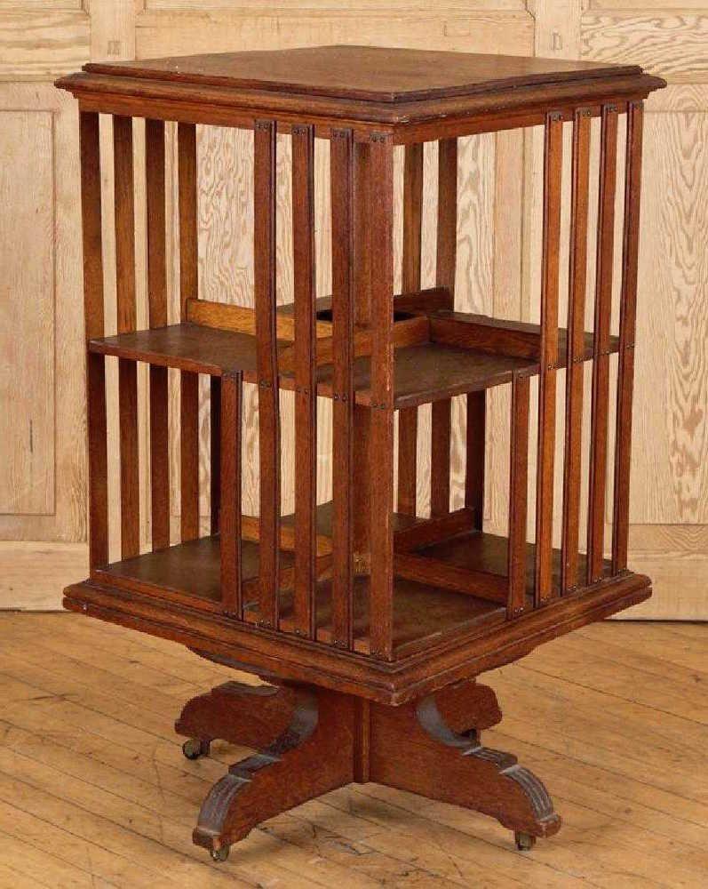 Antique Danner Oak Revolving Bookcase 36 Mission Johndanner