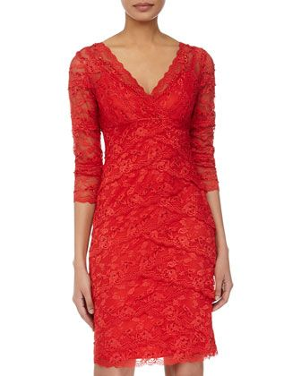 562a2bb77fd7 Tiered-Lace 3/4-Sleeve Cocktail Dress, Red by Marina at Neiman Marcus Last  Call.