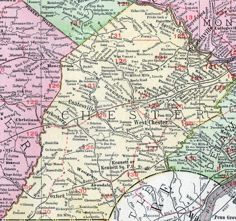 Chester County, Pennsylvania, 1911, Map, Coatesville, Phoenixville on
