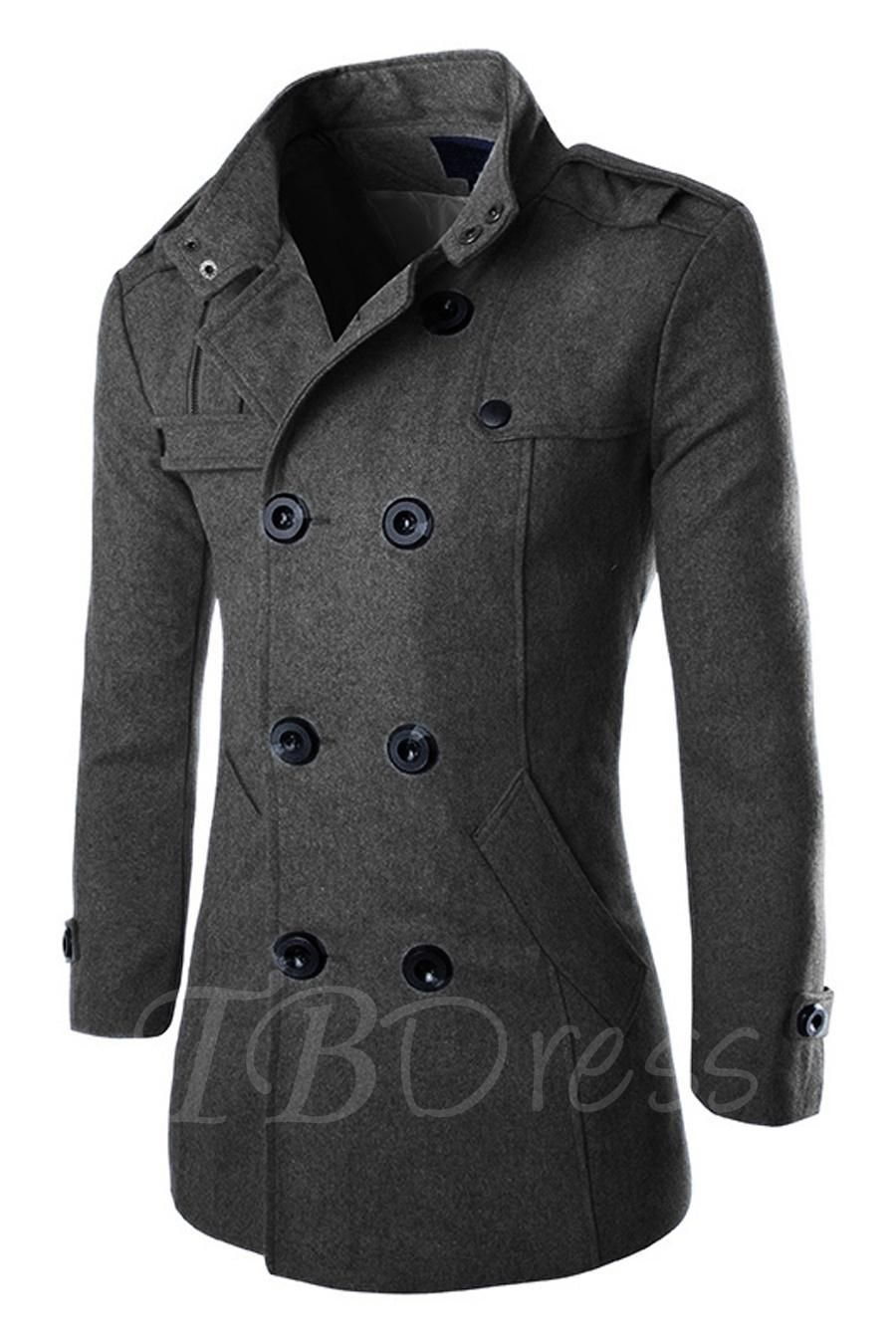 9e4e1967aaa6  TBDress -  TBDress Notched Collar Mens Pure Color Pea Coat - AdoreWe.com