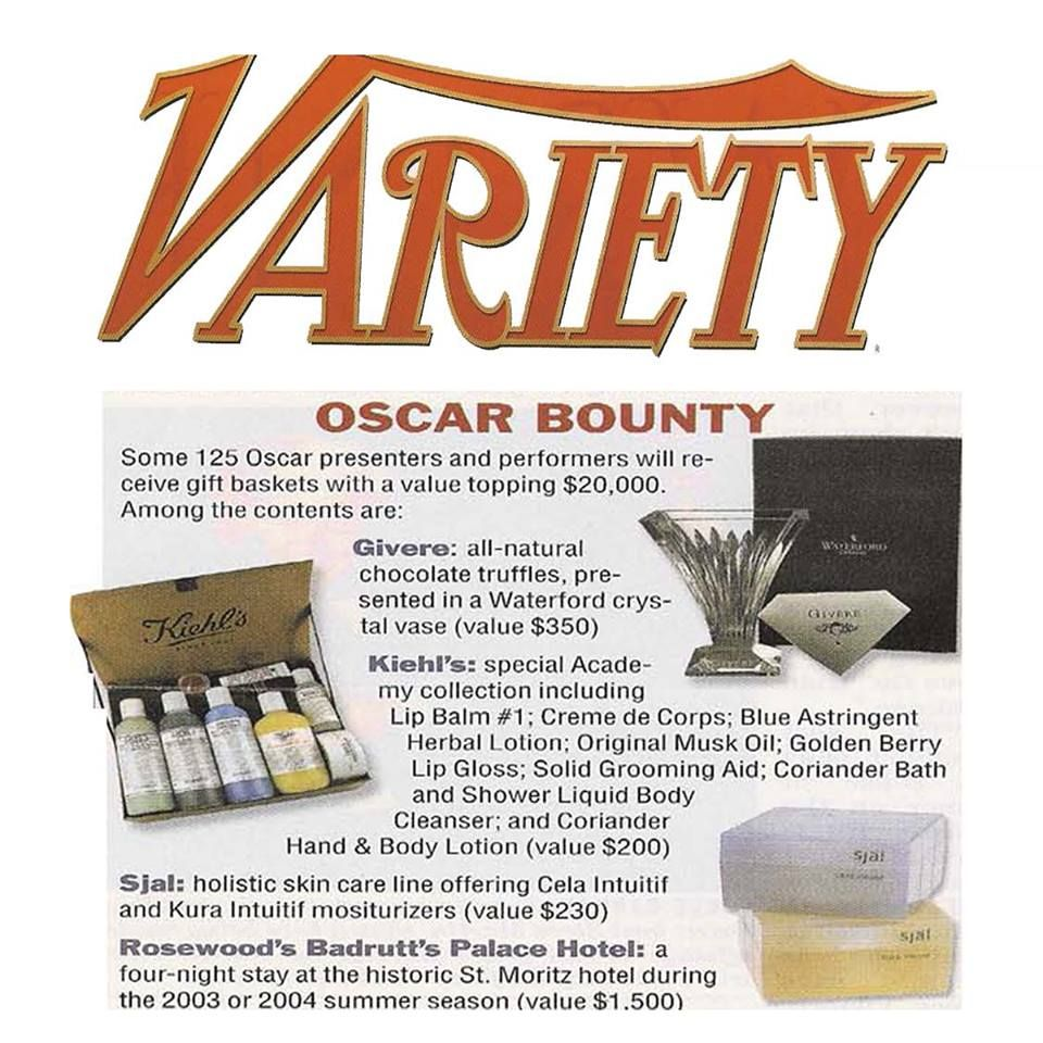 själ skincare's cela intuitif and kura intuitif were included in gift baskets received by Oscar nominees and presenters. Variety featured these gift items in their March 17, 2003 issue. #Sjal #Skincare #Oscars #TBT