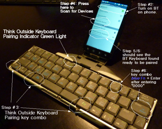 Pairing Think Outside BT Keyboard with Android or iPhone