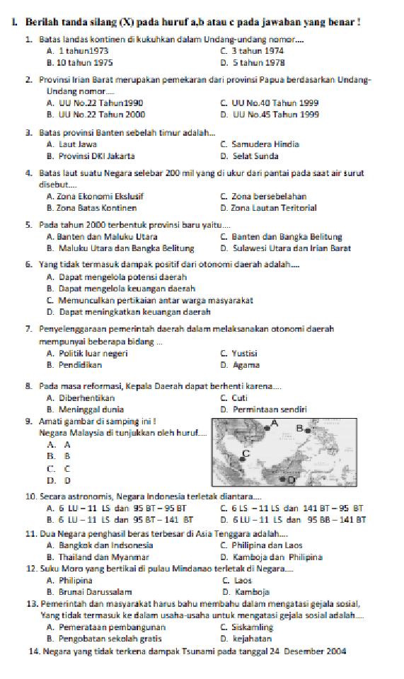 Soal Dan Jawaban Ulangan Semester 1 Kelas 6 Sd