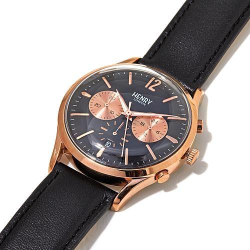 "Henry London ""Knightsbridge"" Rosetone Black Dial Black Leather Strap Chronograph Watch"
