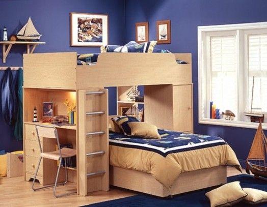 hochbett schreibtisch ideen fr kinderzimmer dunkelblau - Coolste Etagenbetten Mit Schreibtisch
