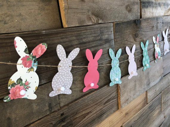 Bunny banner/Easter banner/Easter decor/Baby shower | Etsy -   18 holiday Easter baby shower ideas