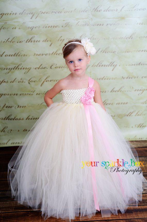 Tutu Dress Pink /& Ivory Baby Girls Tutu Dress Toddler Tutu Dress Flower Girl Tutu Dress Pageant Tutu Dress Tutu Dress