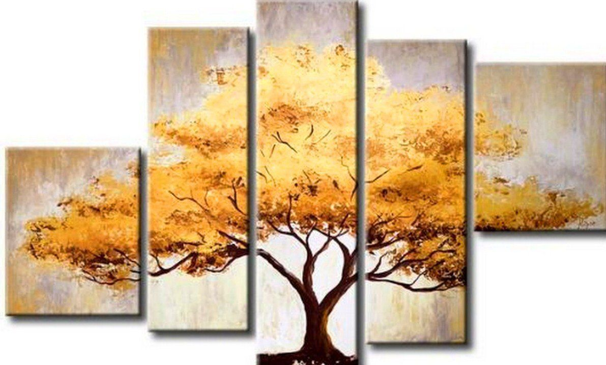 Cherish Art 100% Hand Painted Oil Paintings Elegant Golden Tree 5 ...