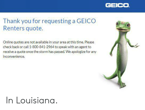 Geico Thank You For Requesting A Geico Renters Quote Online In