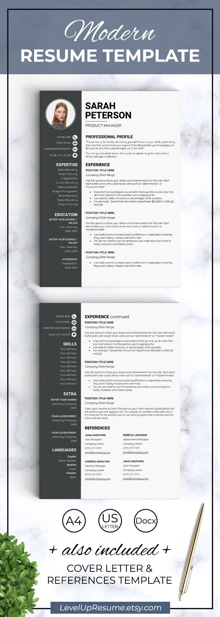 Standard Resume Font Resume With Photo Two Page Resume Template Curriculum Vitae One Page .