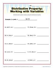 Distributive Property with Variables Worksheets 6th and ...
