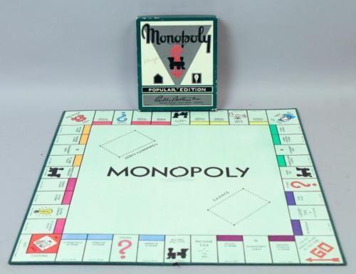Vintage-1930s-Dual-Patent-No-8-Green-Box-Popular-Edition-Monopoly-Game-Set