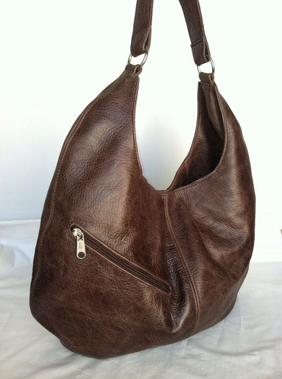 9d260ea4b4 Genuine brown leather large hobo purse shoulder handbag handmade on Etsy