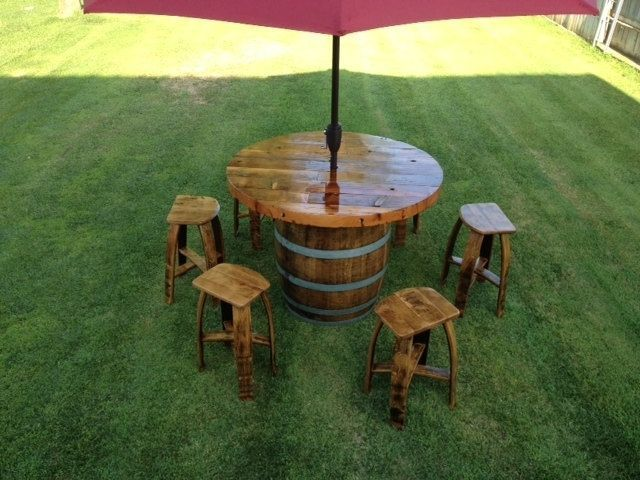 furniture made from wine barrels. Custom Made Wine Barrel Umbrella Table Set Furniture From Barrels M