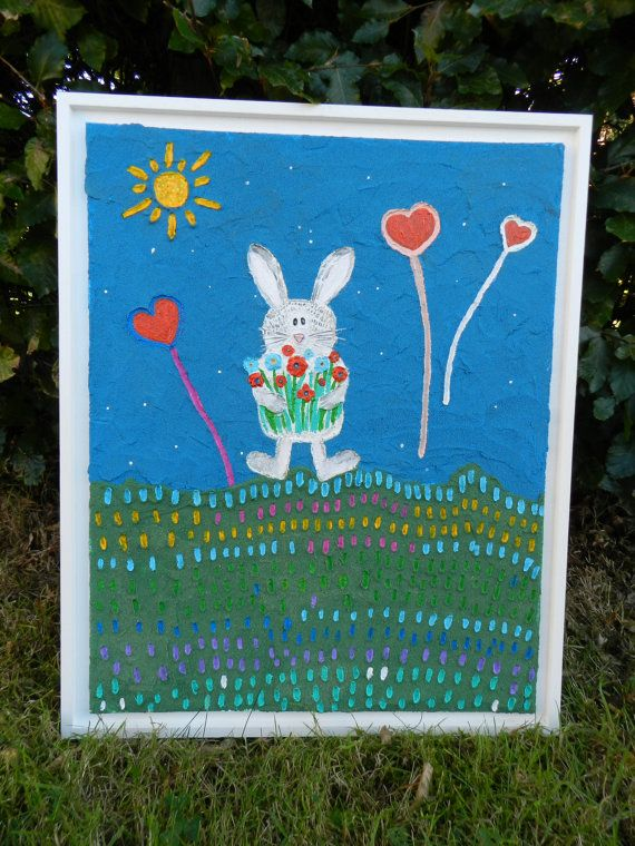 Rabbit with flowers by colourbeauty on Etsy, £80.00