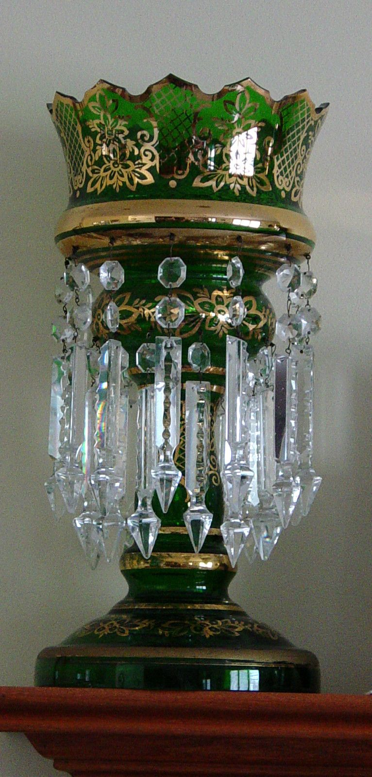 Green Bohemian Lustre With Two Rows Of Prisms Hanging