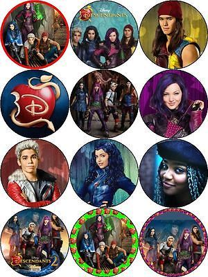 Disney Descendants Round Edible Party Cake Image Topper Frosting Icing Sheet