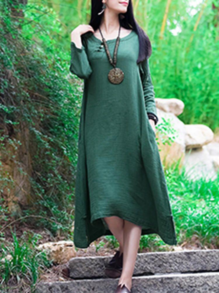 f33f7c2f0a3303 Only US 31.99 shop s-5xl pure color asymmetric dress at Banggood.com. Buy  fashion vintage dresses online. - Banggood Mobile