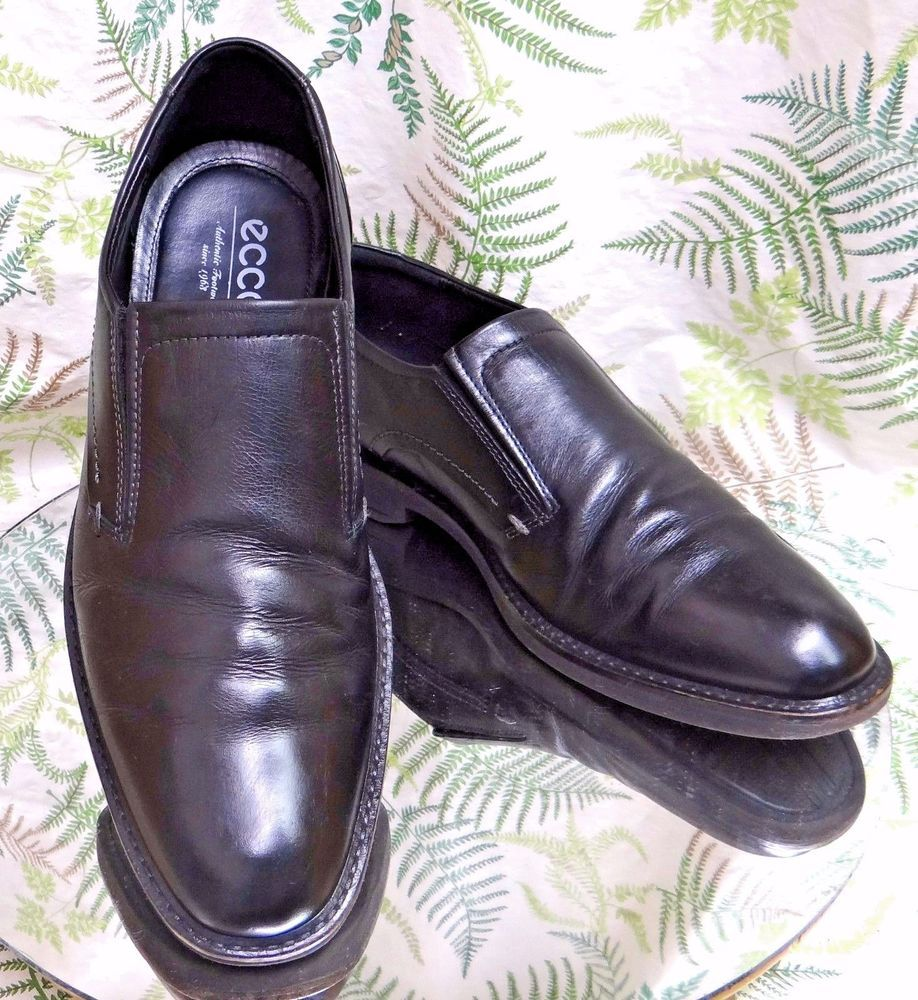 d1fa1067 ECCO BLACK LEATHER LOAFERS SLIP ONS BUSINESS DRESS SHOES US MENS SZ ...