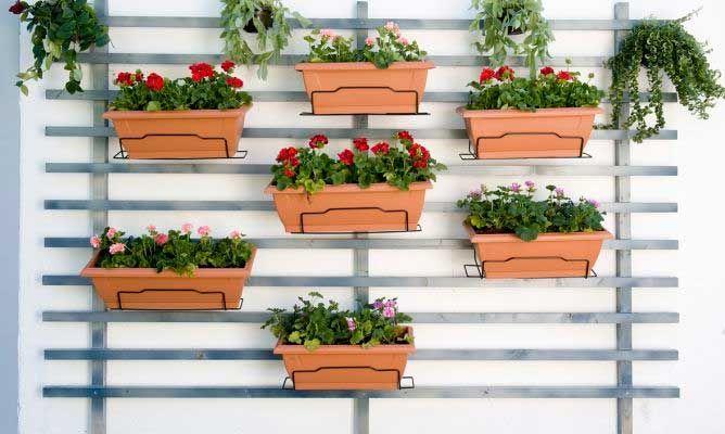 Jardines de pared macetero palet pinterest jardines for Paredes de madera para jardin