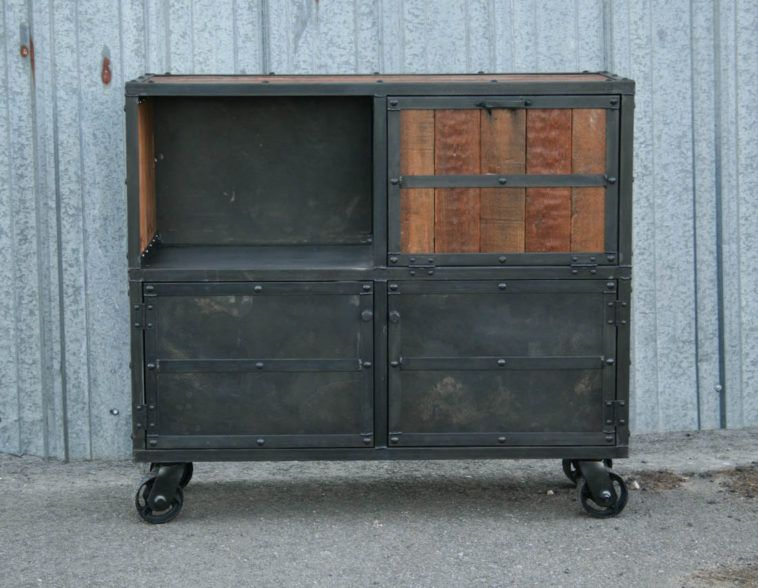 small square vintage industrial metal liquor cabinet on wheels