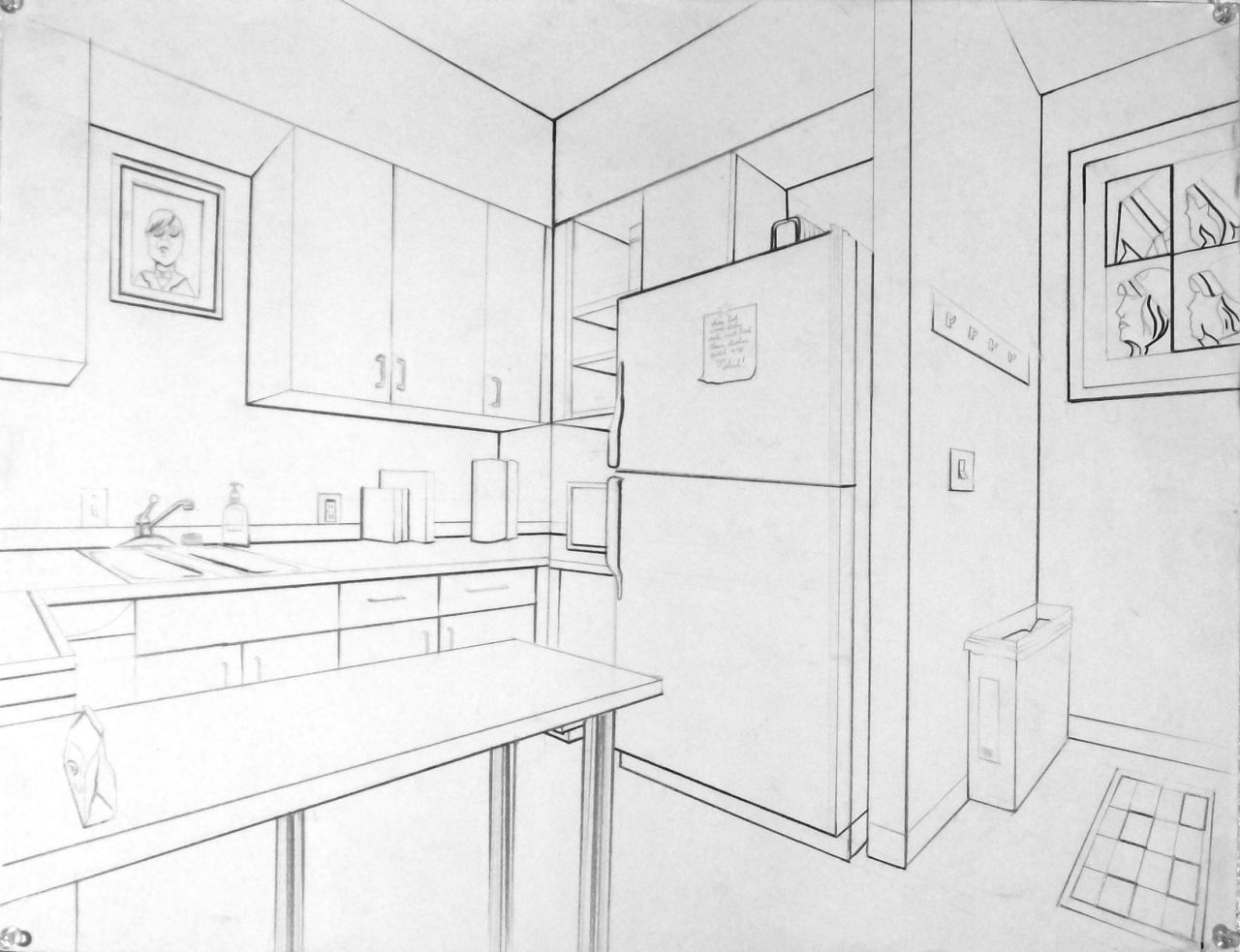 Interior Perspective Of A Kitchen Pencil Sketch