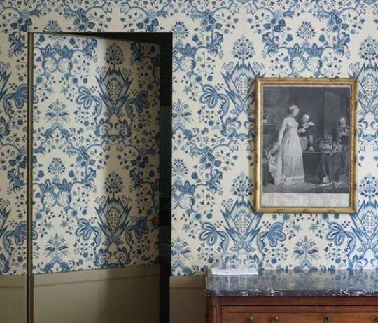 Hidden Door On Beautiful Wallpapered Wall Wallpaper Door Upholstered Walls Secret Door