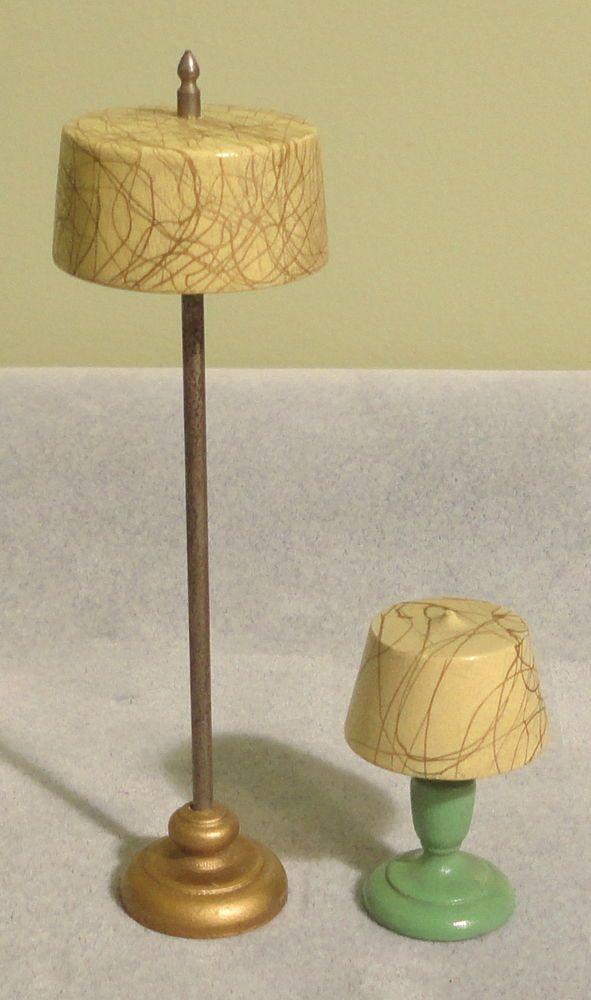 Vintage Doll House Wood Table Lamp Floor Lamp Strombecker Swirl