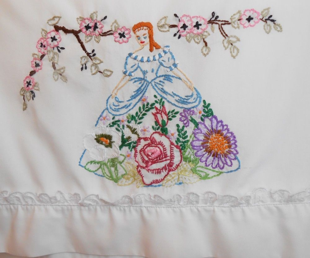Pillowcase In Spanish Vintage Pillowcase Hand Embroidered Southern Belle Or Spanish Lady