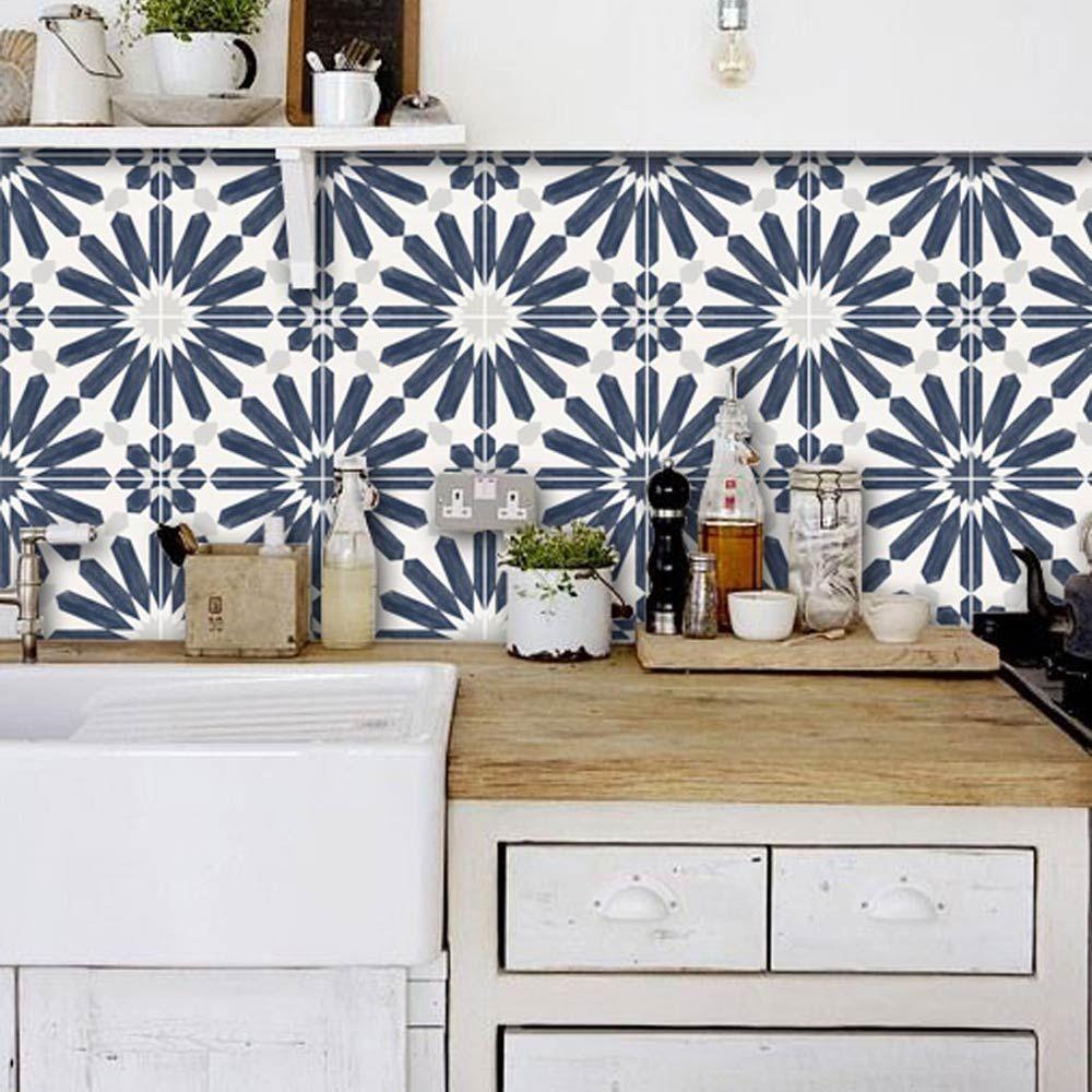15 Kitchen Backsplash Ideas That Go Right Over Old Tile The Budget Decorator Bathroom Splashback Vinyl Wallpaper Splashback