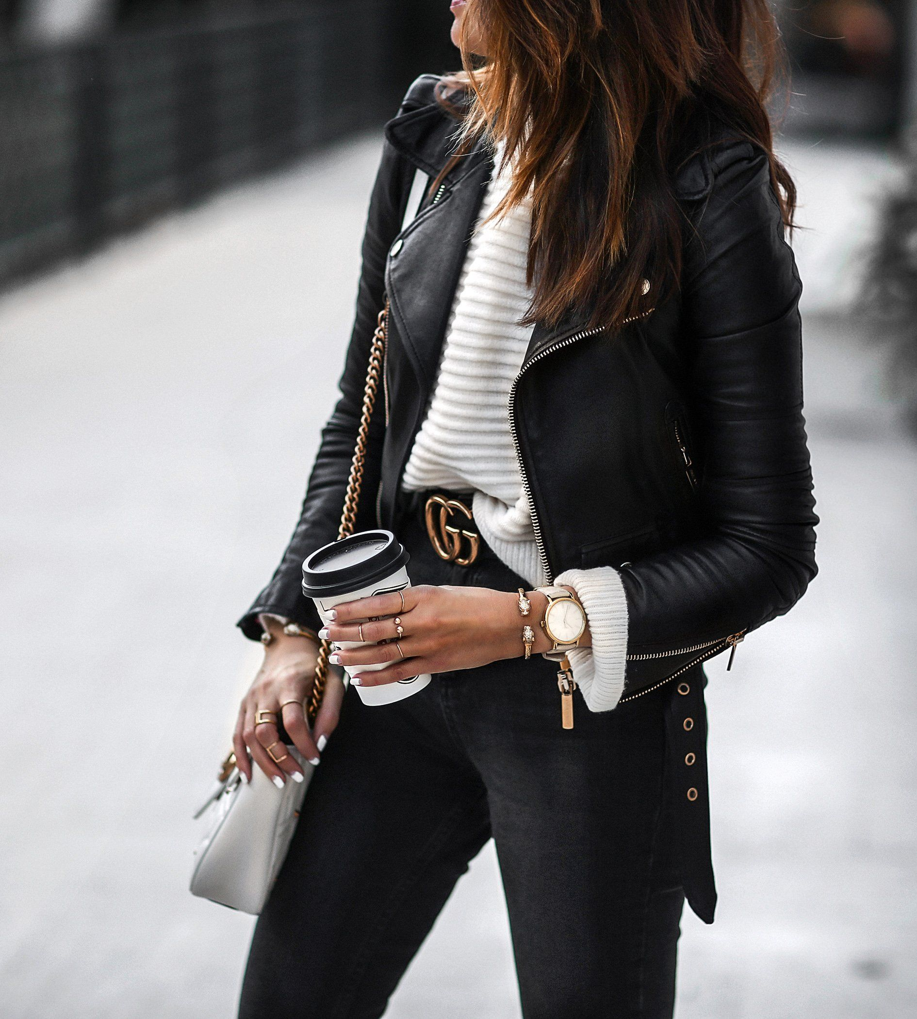 Gold hardware everywhere Fashion, Leather jacket outfits