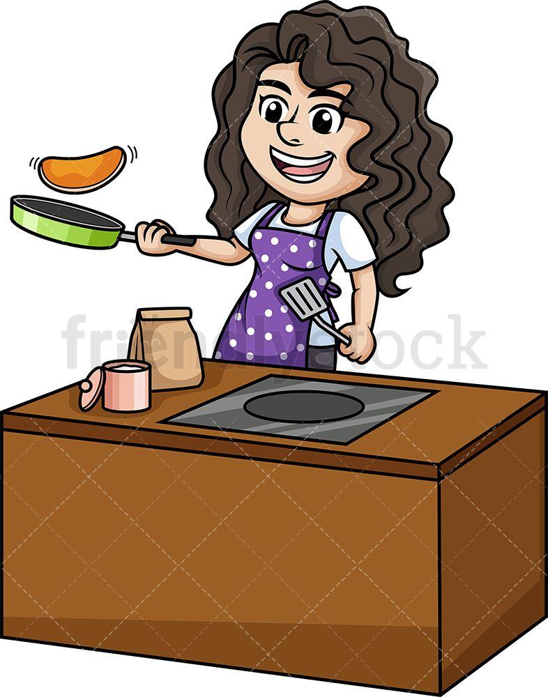 Woman Making Pancakes Cartoon Clipart Vector Friendlystock Cartoon Clip Art Cooking Clipart How To Make Pancakes