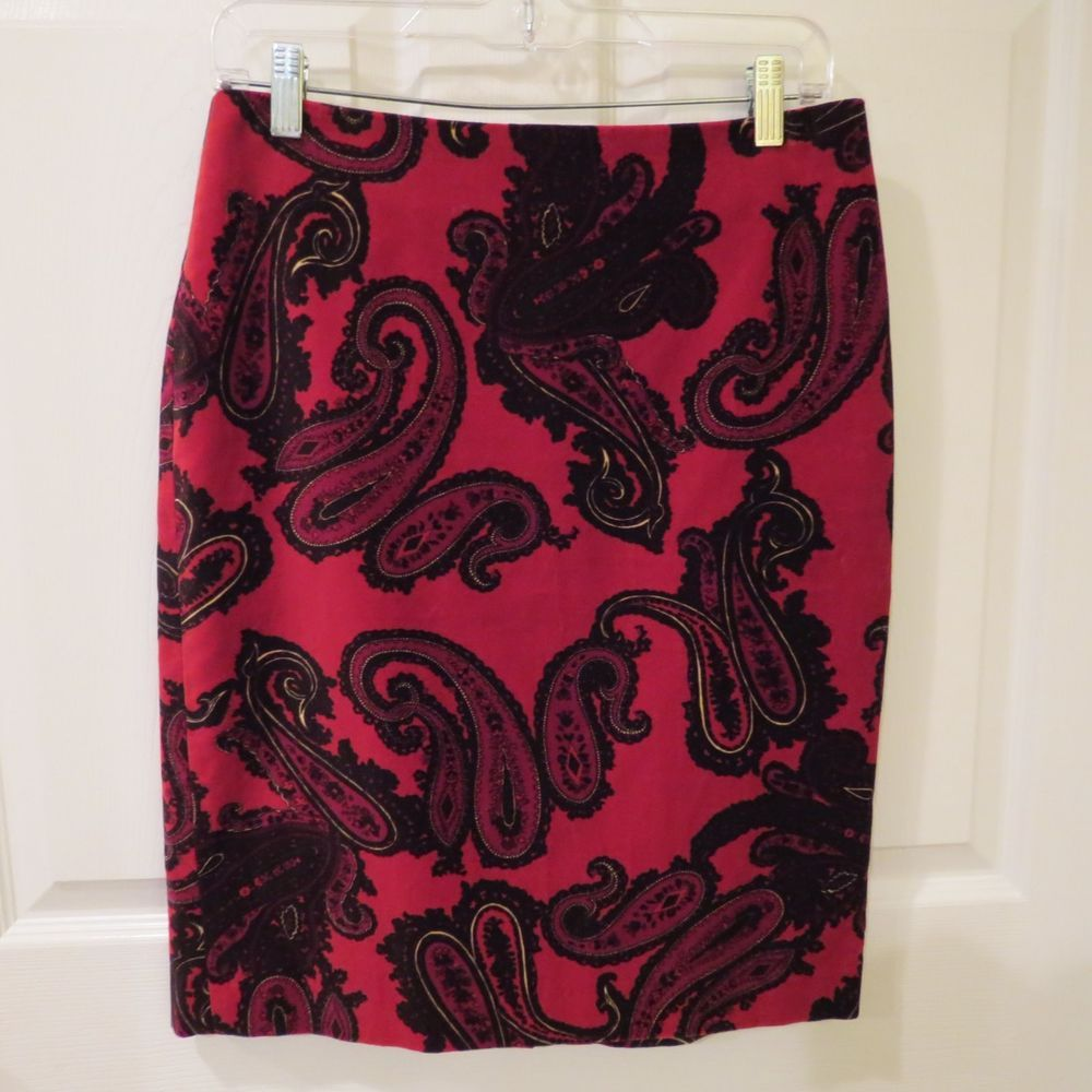 Talbots Pencil Skirt Velvet Red/Blk/Multi Color Paisley Pattern Size 4 NEW w/Tag #Talbots #StraightPencil