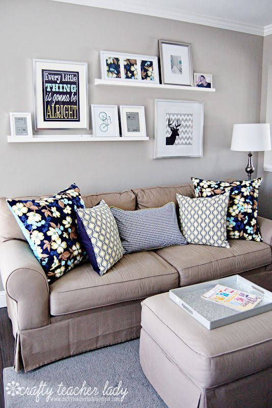 decorating living room wall decorative shelves ideas staggered picture ledges arrangements decor above couch small
