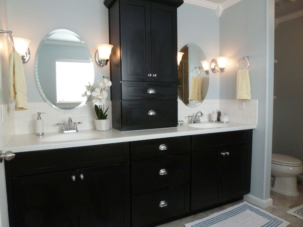 double sink vanity with center cabinet. Vogue Black Wooden Vanity Bath With Storage White Glass Tile Top And  Double Undermount Sink