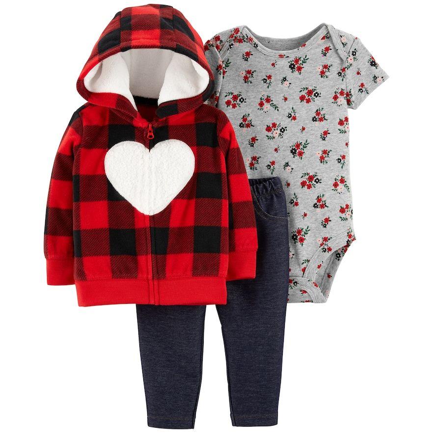 Baby Girl Carter S Plaid Fleece Hoodie Rose Bodysuit