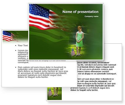 download free little girl in memorial day powerpoint template and