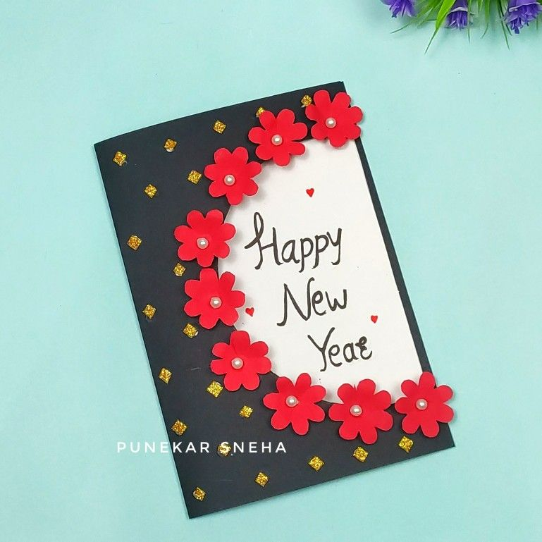 Easy And Beautiful New Year Greeting Card Making At Home Handmade Greeting Card Punekar In 2021 Greeting Cards Handmade Handmade Greetings New Year Greeting Cards