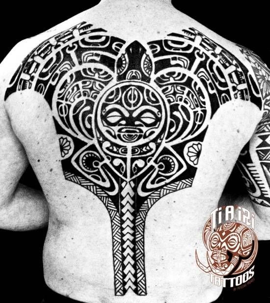 Polynesian Chest & Back Tattoos | Po'oino Yrondi Tattoo