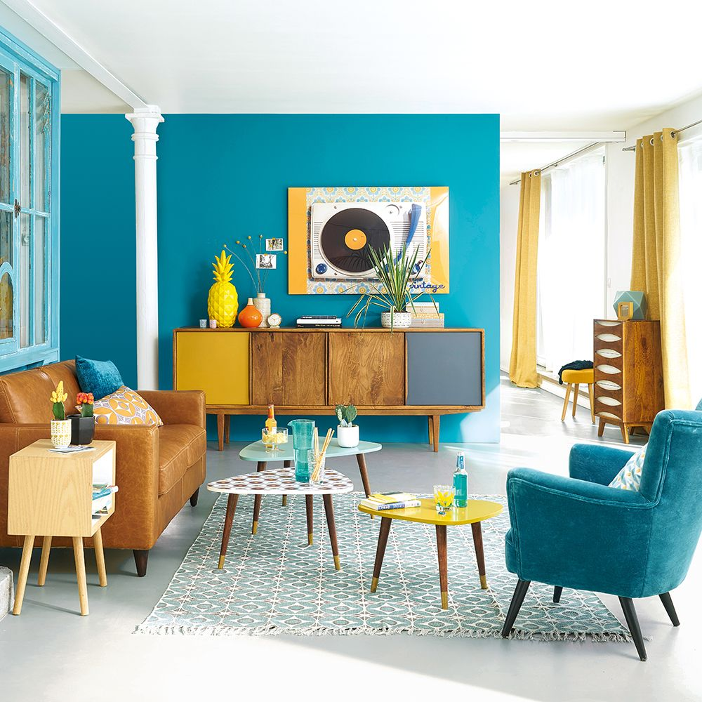 Retro Living Room Gray And Teal Style Maisons Du Monde