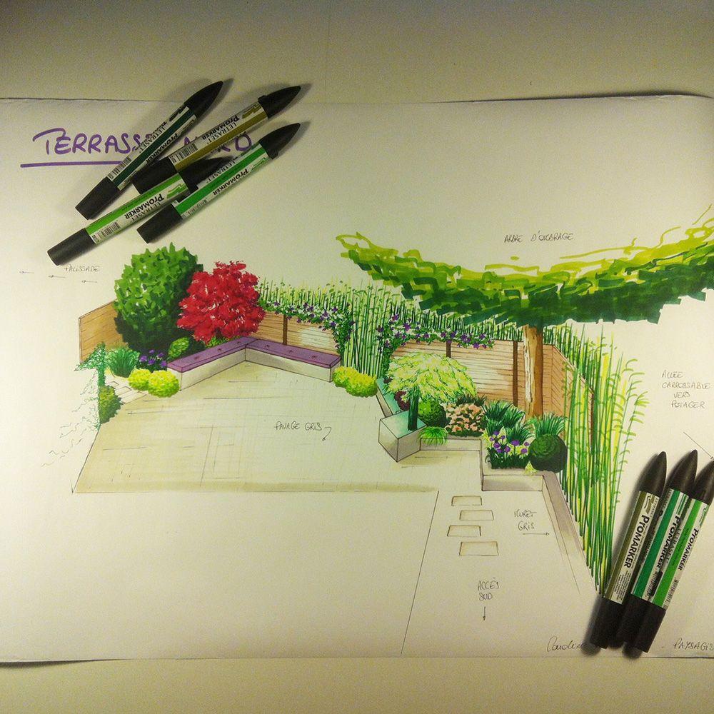 Avant projet d 39 am nagement paysager terrasse ombrag e chalonnes sur loire 49 l 39 atelier au - Dessiner un jardin ...