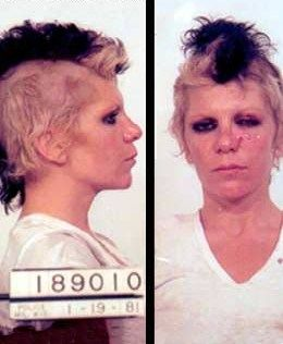 Wendy O. Williams, lead singer for the Plasmatics  was arrested January 19, 1981 after simulating sex on the stage of the  Palms nightclub during a performance.  She resisted arrest while  being taken into custody which is reflected in her mugshot.  Her  claims of police brutality were later found to be baseless.