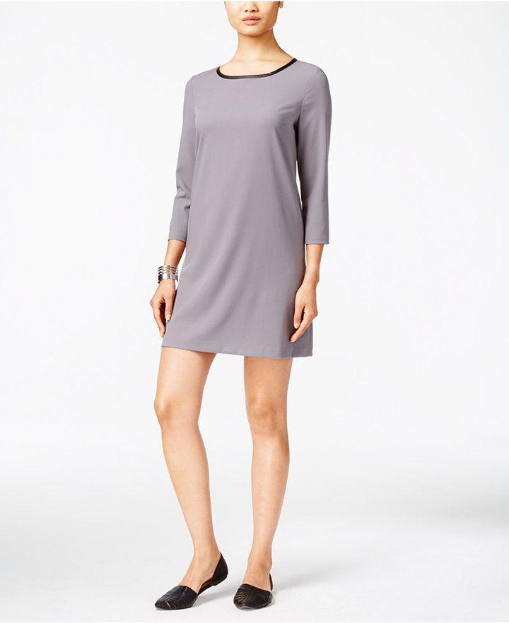 5c7a0fb2 ECI ECI FAUX-LEATHER-TRIM SHIFT DRESS, women, fashion, clothing, clothes,  style, fall fashion