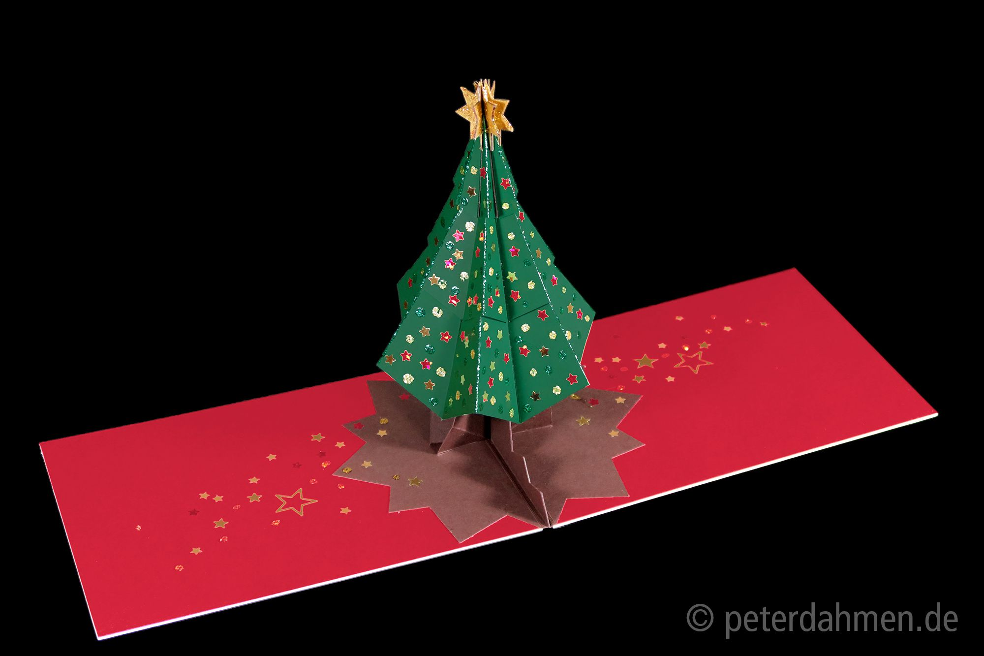 Pop Up Card Tutorial And Template Free For Private Use Design By Peter Dahmen Peterdahmen De Christmas Tree Cards Christmas Scrapbook Pop Up Card Templates