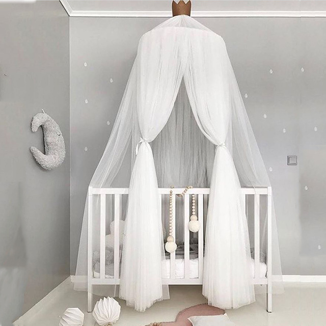 Kids Children Mosquito Net Bed Canopy Yarn Play Tent Bedding with Round Dome