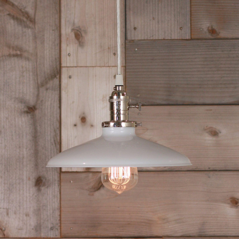 Hanging pendant light with white enamel shade pendant lighting