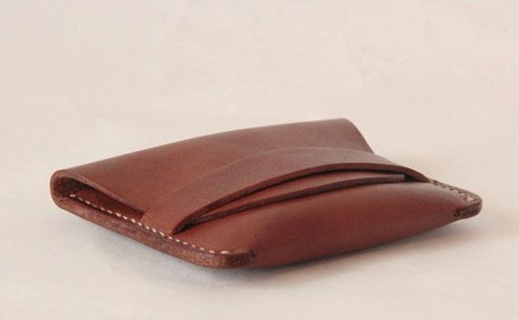 Minimal Leather Wallet,  Small Wallet, Leather Card Case, Slim Card Holder, Cash Coin Purse