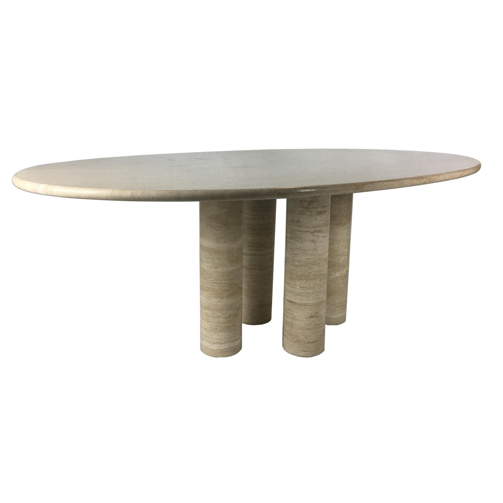 Distinguished Il Colonnato Travertino Romano Dining Table By Mario