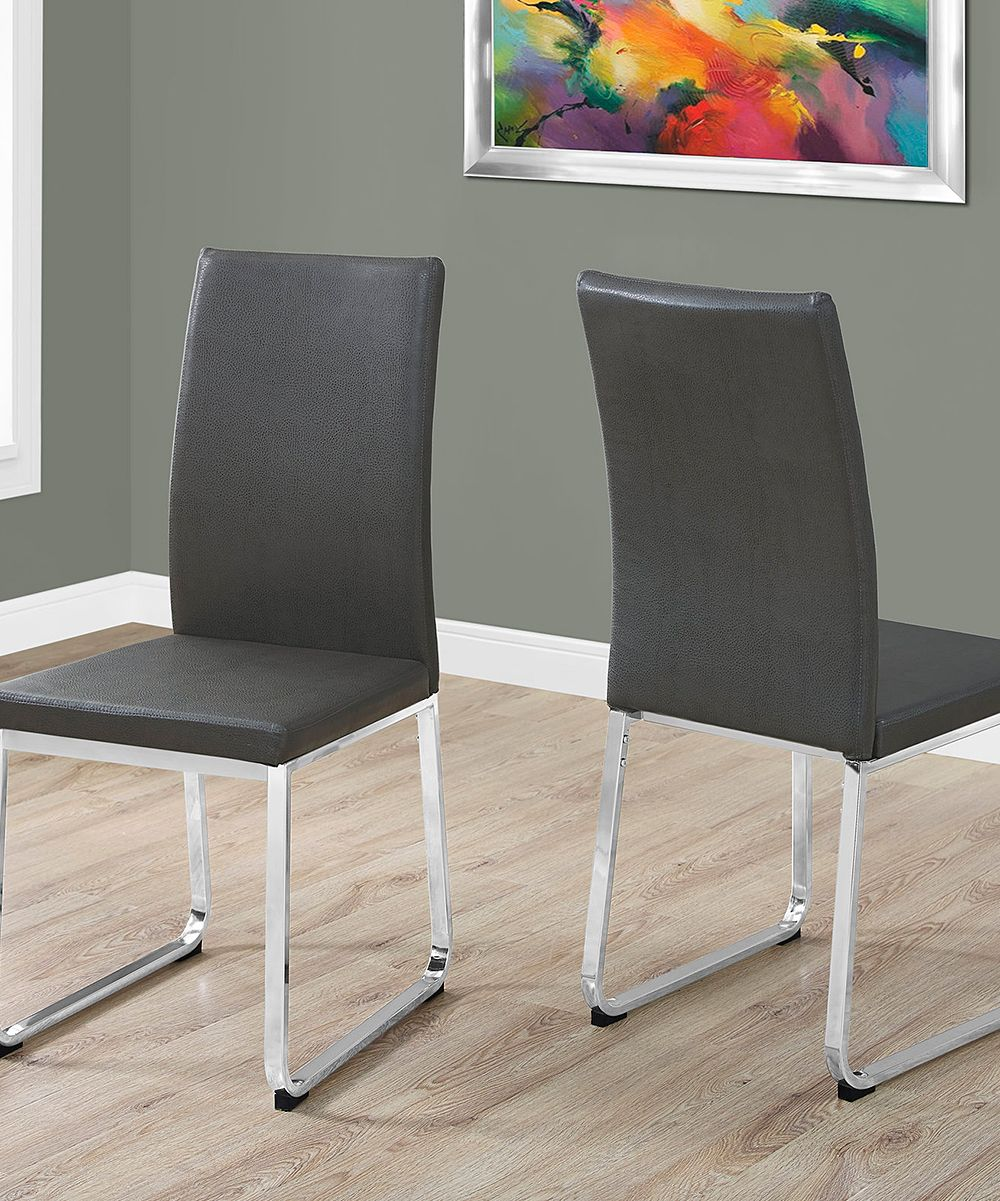 Gray chrome dining chair set of two faux leather
