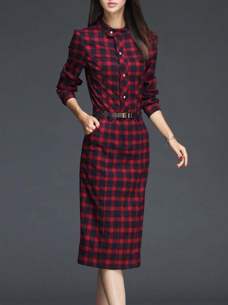 1499d4a5f752 Shop Midi Dresses - Red Sheath Elegant Checkered/Plaid Midi Dress online.  Discover unique designers fashion at StyleWe.com.